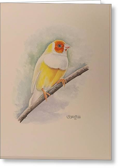 Greeting Card featuring the painting  Canary Bird by Said Marie