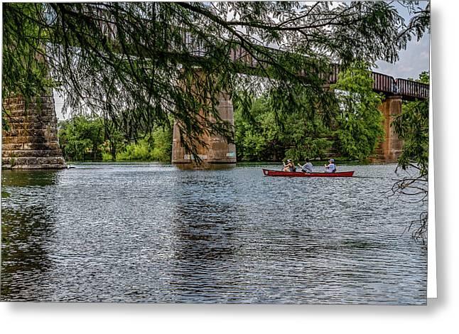Canoeing Lady Bird Lake Greeting Card
