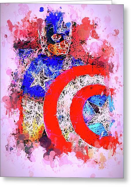 Greeting Card featuring the mixed media Captain America Watercolor by Al Matra