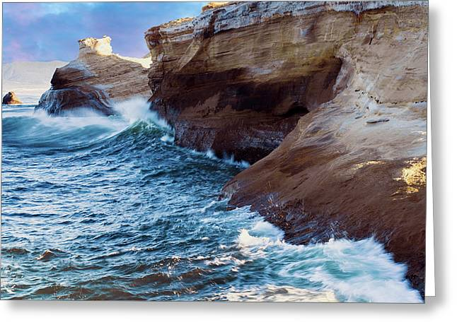 Greeting Card featuring the photograph Cape Kiwanda Oregon V4 by Rospotte Photography