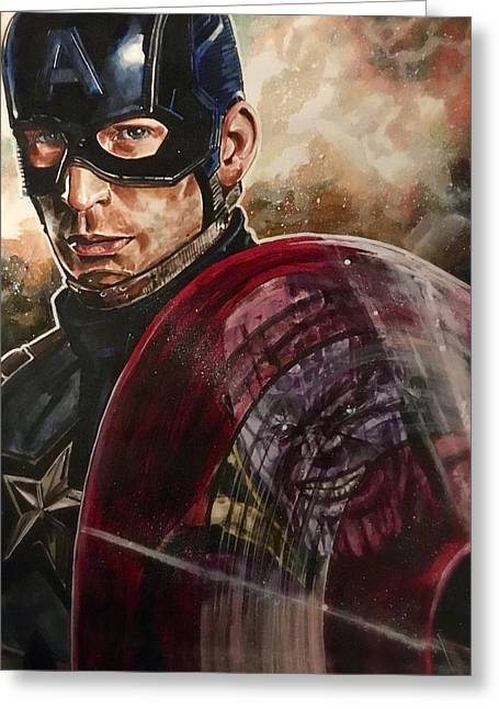 Greeting Card featuring the painting Captain America by Joel Tesch