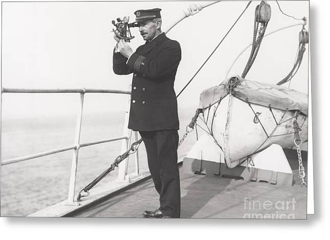 Captain Navigating Ship Greeting Card