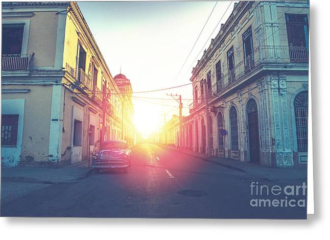 Car Drive In Havana Street, Faded And Greeting Card