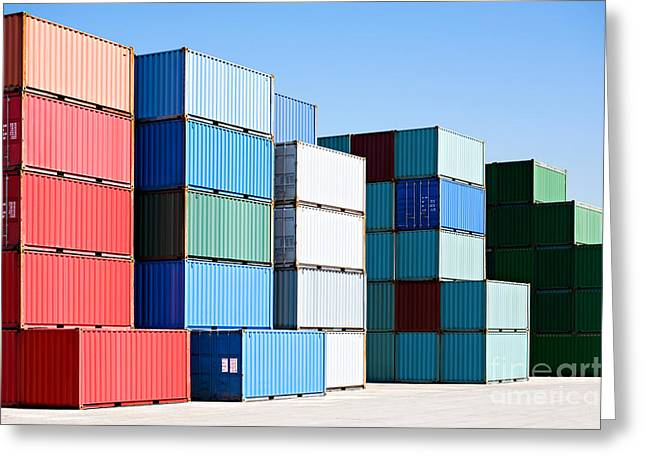 Cargo Shipping Containers Stacked At Greeting Card
