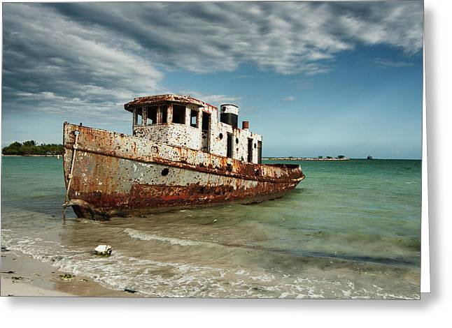 Greeting Card featuring the photograph Caribbean Shipwreck 21002 by Rick Veldman