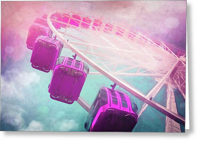 Carnival Magic Pastel Colored Ferris Wheel Greeting Card