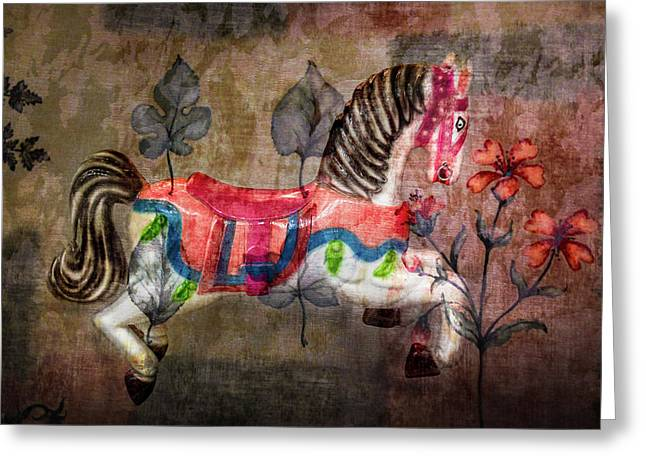 Greeting Card featuring the photograph Carousel Prancing Dream by Michael Arend