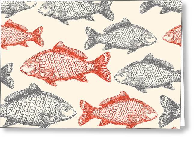 Carp Fish Asian Style Seamless Pattern Greeting Card