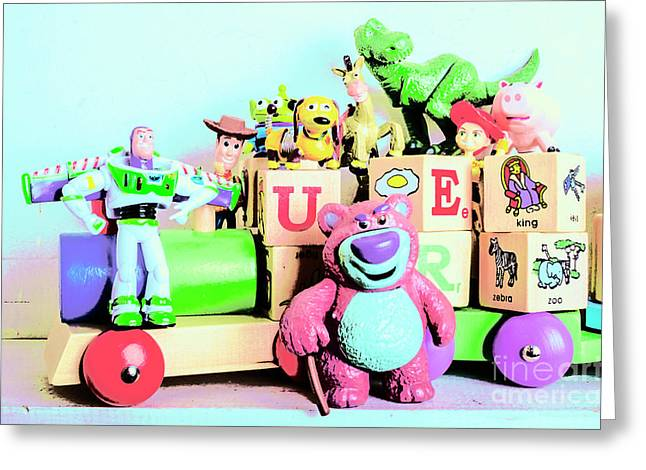 Carriage Of Cartoon Characters Greeting Card