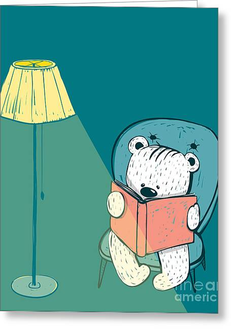 Cartoon Baby Bear Reading A Book. Hand Greeting Card by Popmarleo