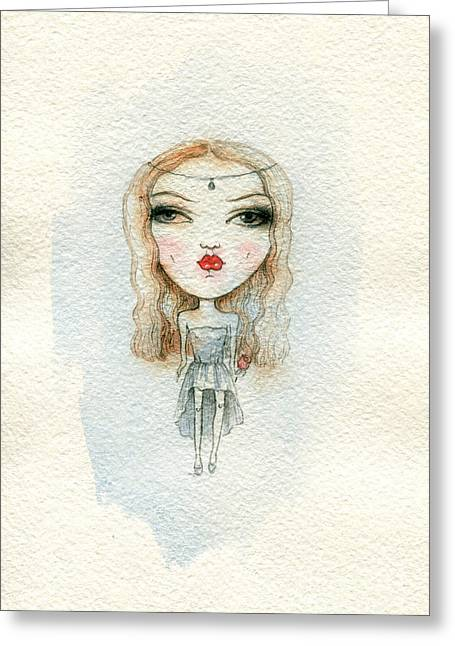 Cartoon Cute Child Girl  . Watercolor Greeting Card