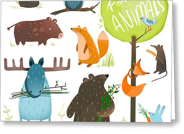 Cartoon Forest Animals Set. Brightly Greeting Card