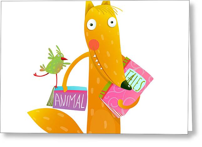 Cartoon Fox Reading Books With Bird Greeting Card