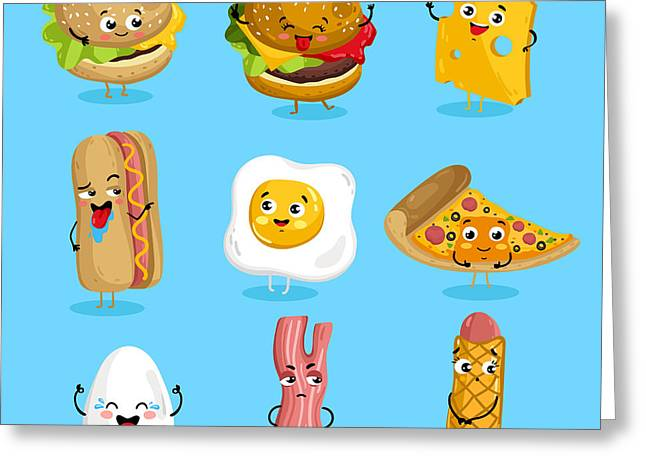 Cartoon Funny Fast Foods Characters Greeting Card