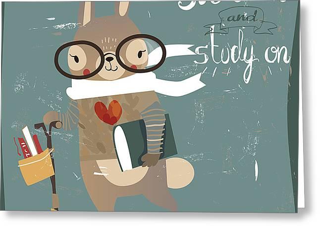 Cartoon Hare With Books Greeting Card