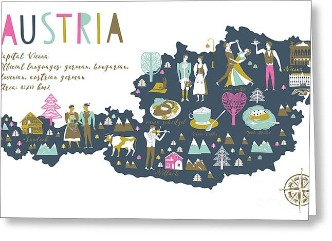 Cartoon Map Of Austria With Legend Icons Greeting Card