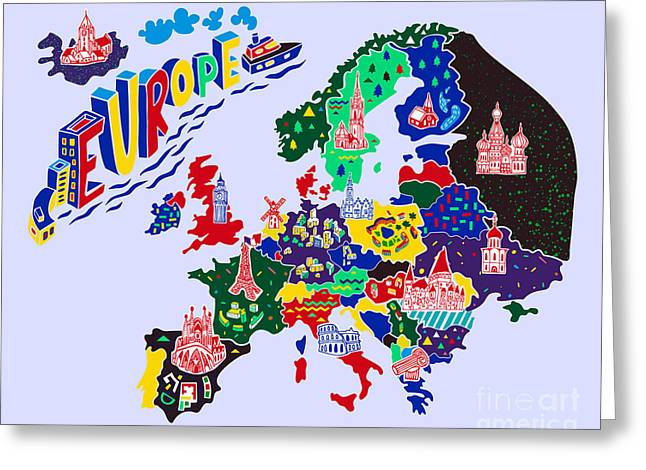 Cartoon  Map Of Europe. Travels Greeting Card