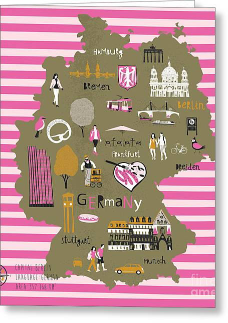 Cartoon Map Of Germany With Legend Icons Greeting Card