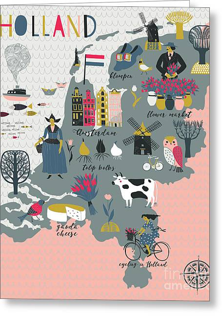 Cartoon Map Of Holland With Legend Icons Greeting Card by Lavandaart