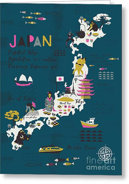 Cartoon Map Of Japan. Print Design Greeting Card