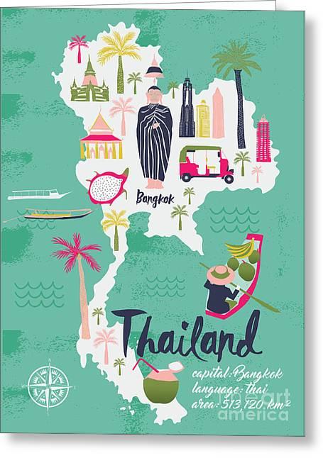 Cartoon Map Of Thailand. Print Design Greeting Card