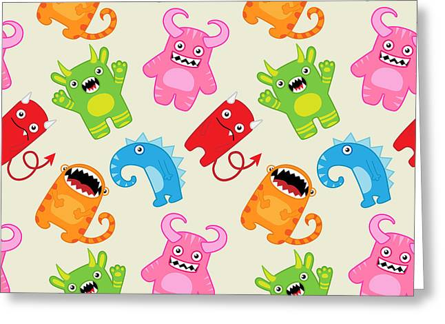 Cartoon Monsters Seamless Pattern Greeting Card