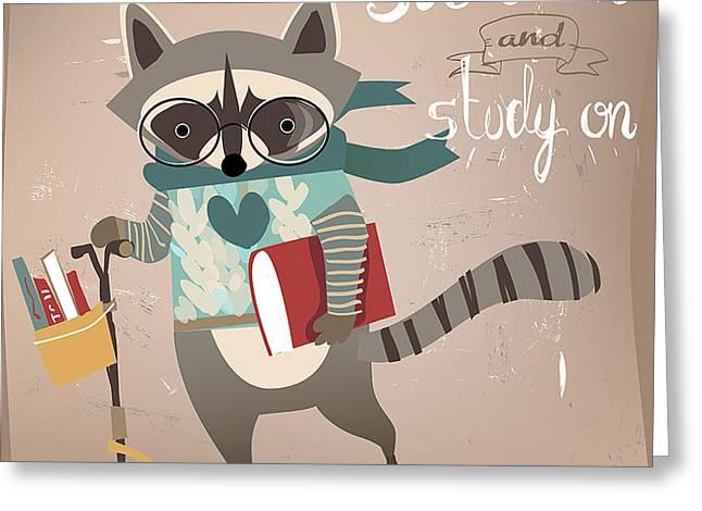 Cartoon Raccoon On Scooter Greeting Card