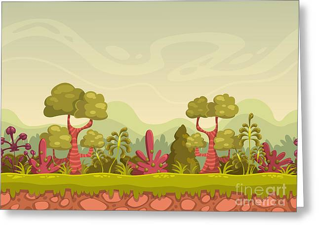 Cartoon Seamless Nature Landscape Greeting Card