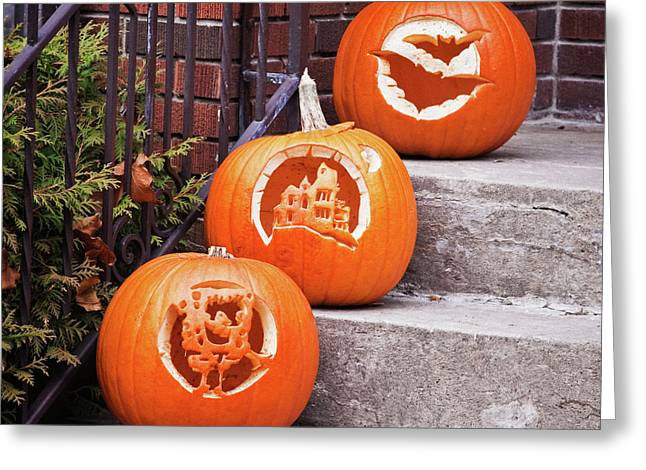 Greeting Card featuring the photograph Carved Pumpkins For Autumn Holidays by Tatiana Travelways