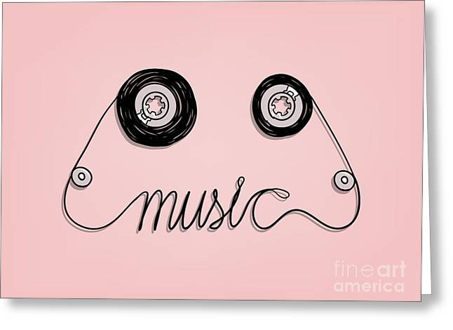 Cassette Tape Music Graphic Greeting Card