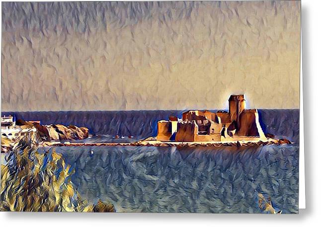 Greeting Card featuring the digital art Castle In Sea by Lucia Sirna