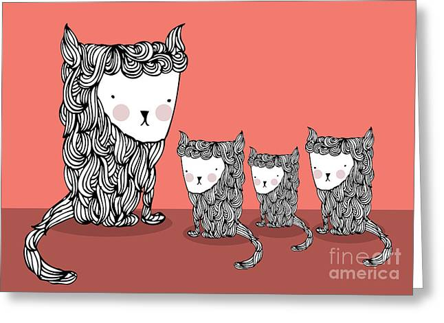 Cat And Kittens Illustrationvector Greeting Card by Lyeyee