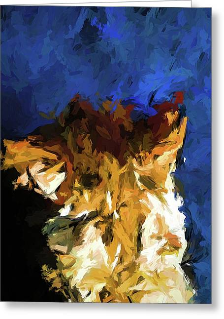 Cat And The Cobalt Blue Wall Greeting Card