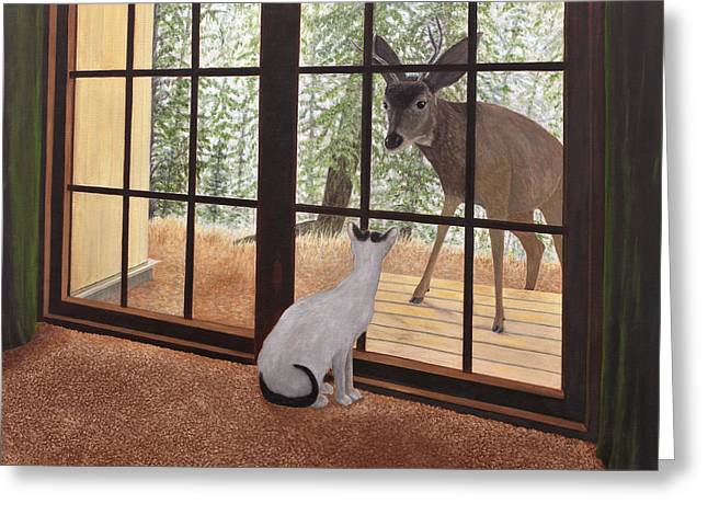 Cat Meets Deer Greeting Card