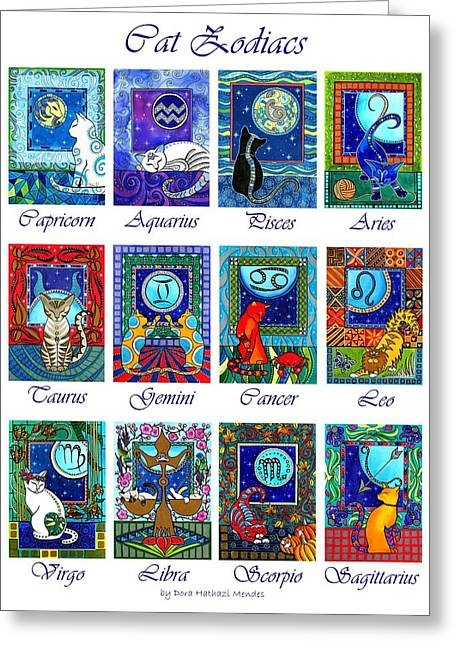 Cat Zodiac Astrological Signs Greeting Card