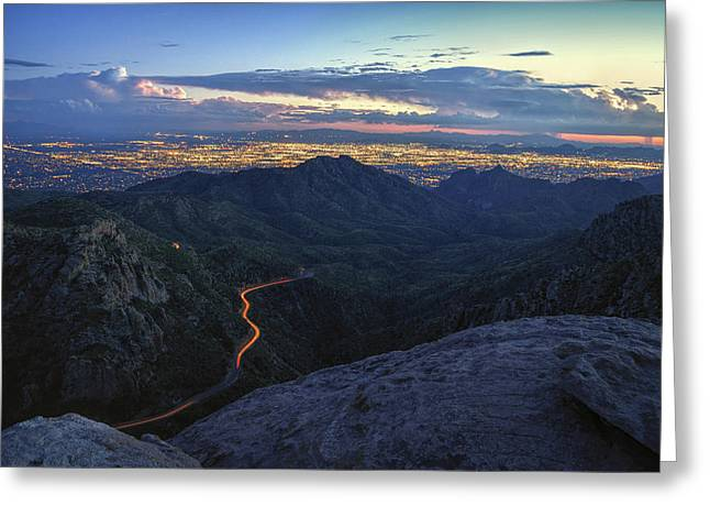 Catalina Highway And Tucson Greeting Card