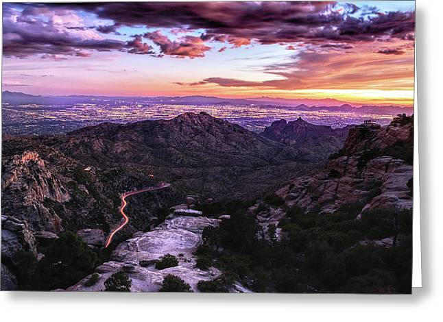 Catalina Highway Sunset And Tucson City Lights Greeting Card