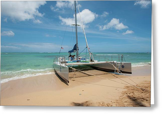 Catamaran On Waikiki Greeting Card