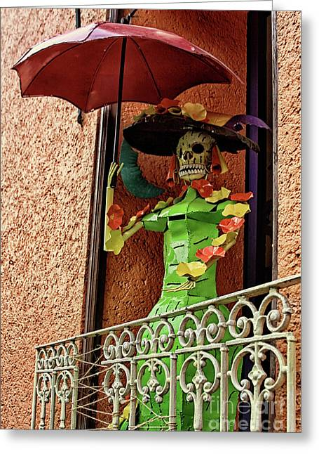 Greeting Card featuring the photograph Catrina Bonita In The Balcony by Tatiana Travelways