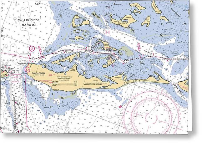 Cayo Costa Nautical Chart Greeting Card