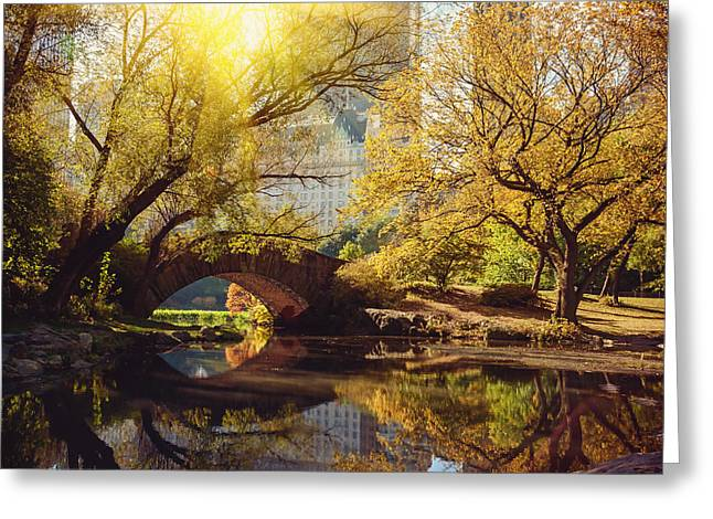 Central Park Pond And Bridge. New York Greeting Card