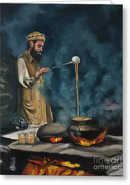 Greeting Card featuring the painting Chai Wala by Nizar MacNojia