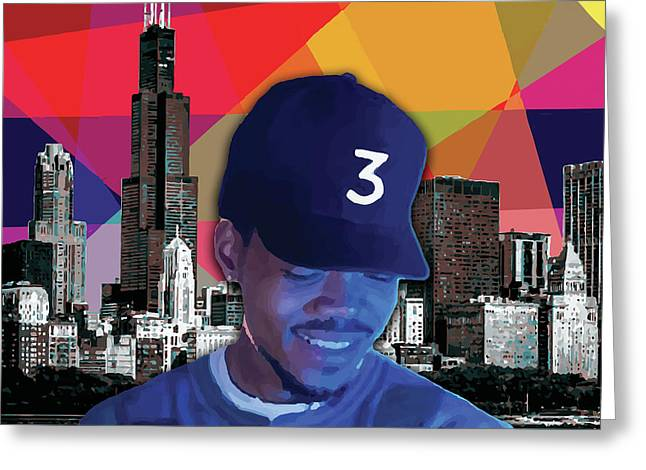 Greeting Card featuring the painting Chance Chicago by Carla B