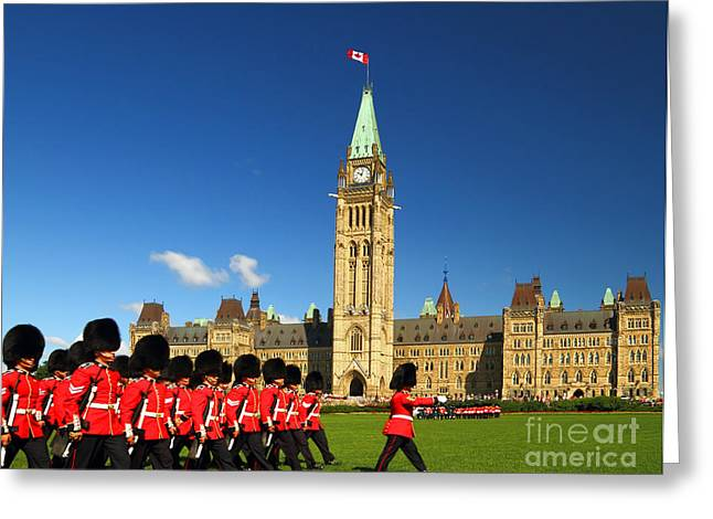 Changing Of The Guard Ceremony On Greeting Card