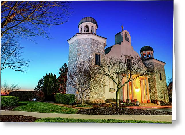 Chapel On The Creeks At Twilight - Rogers Arkansas Greeting Card