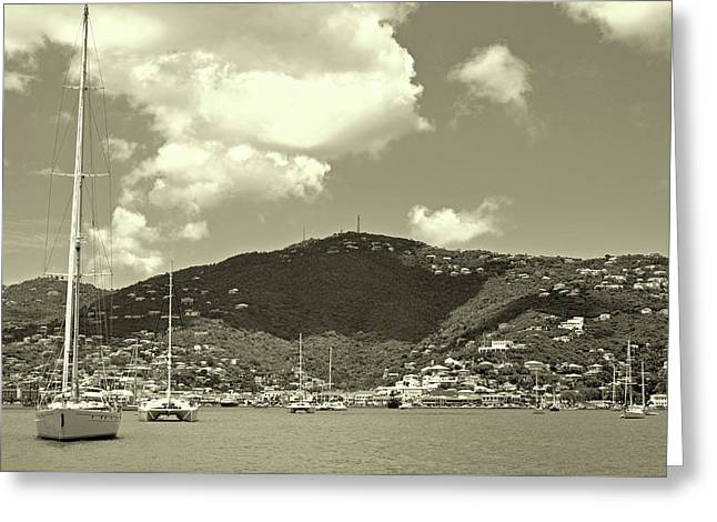 Charlotte Amalie Harbor In Sepia Greeting Card
