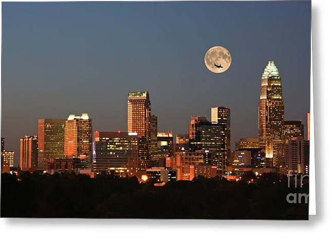 Charlotte City Skyline At Sunset Greeting Card