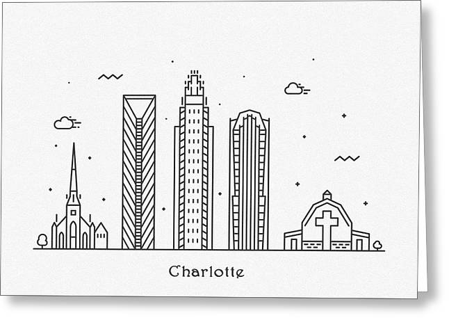 Charlotte Cityscape Travel Poster Greeting Card