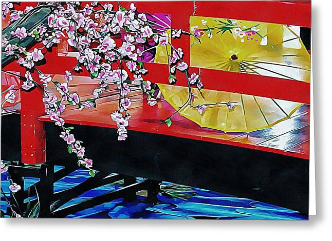 Greeting Card featuring the photograph Cherry Blossom Bridge by Dorothy Berry-Lound