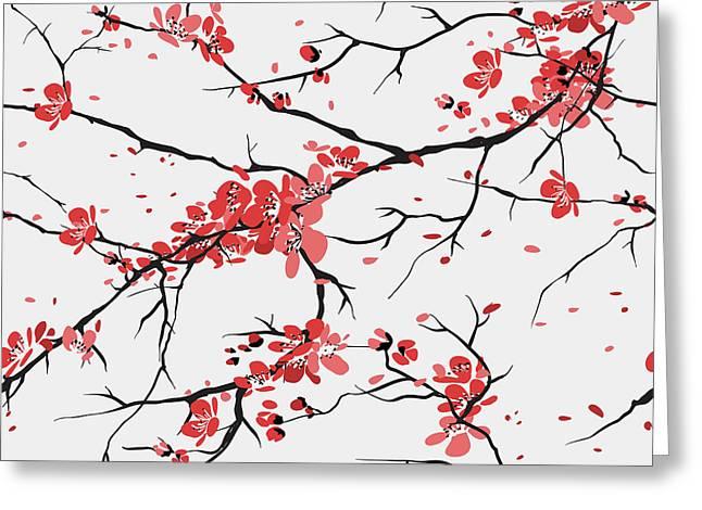 Cherry Or Sakura Seamless Pattern Greeting Card
